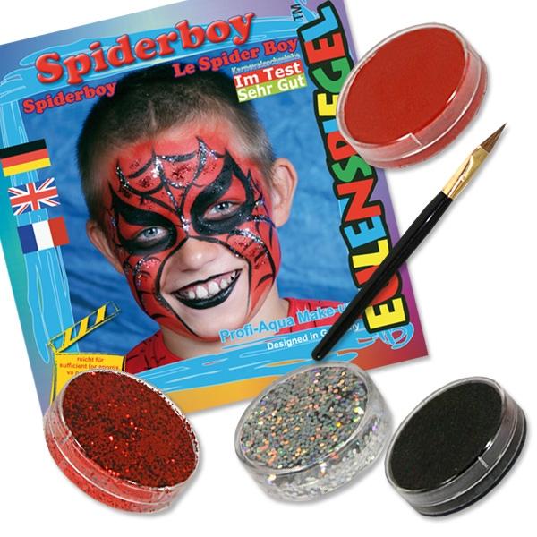 Schminkset Spider Boy mit drei Schminkfarben für 4 Schminkmasken