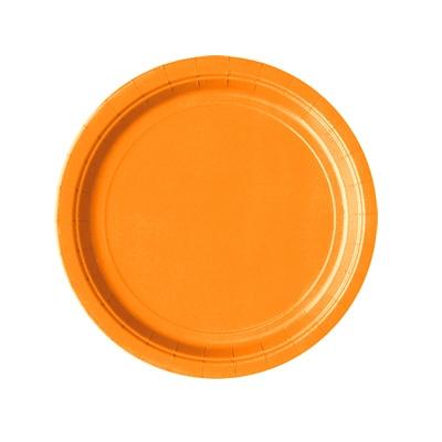 Partyteller in Orange, Einwegteller aus Pappe im 8er Pack, 18 cm