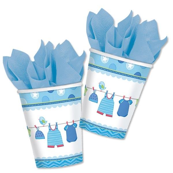 Partybecher It's a Baby Boy in Blau aus Pappe, 8 Stück, 266 ml
