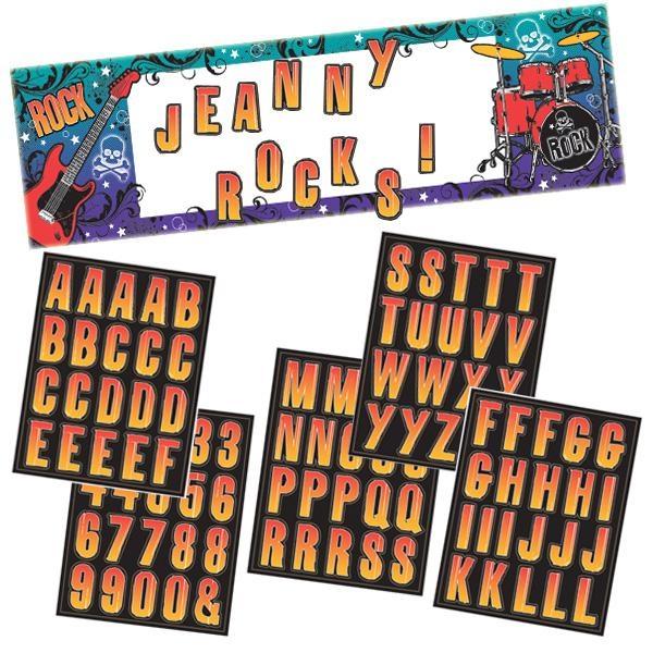 Rock Star Banner zum Personalisieren +100 Sticker, 165x50,8cm
