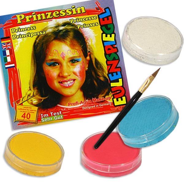 Schminkset Prinzessin, 4 Farben, Kinderschminke +Schminkpinsel Set