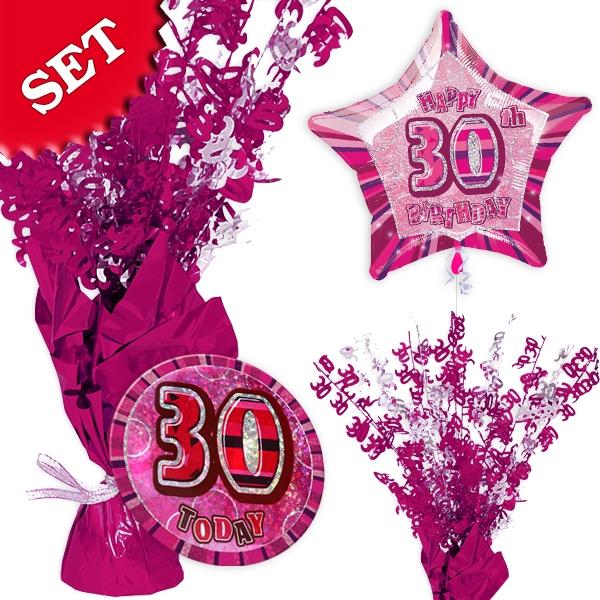 Partyset zum 30. Geburtstag - pink