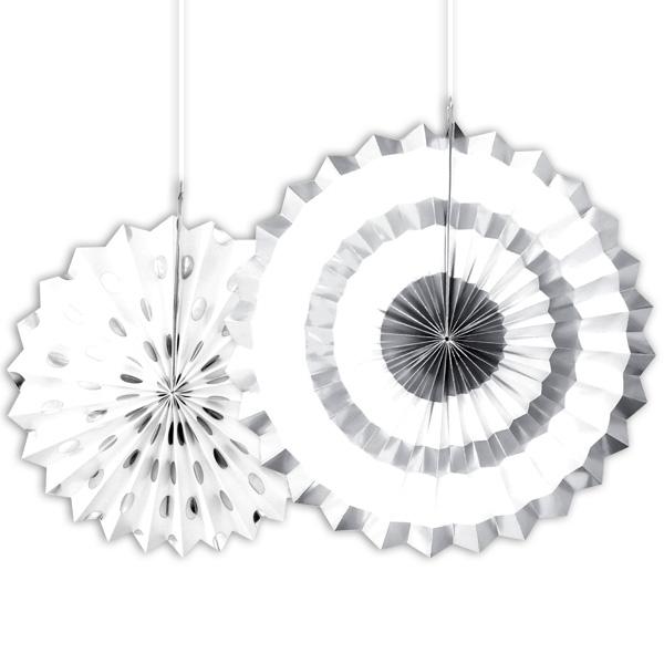 2 Fächerblumen in Silber-Weiß als Hängedeko oder Wanddeko, Papier