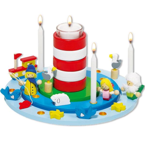 "Goki Geburtstagskranz ""Leuchtturm"", 1 Set, Ø 25cm"