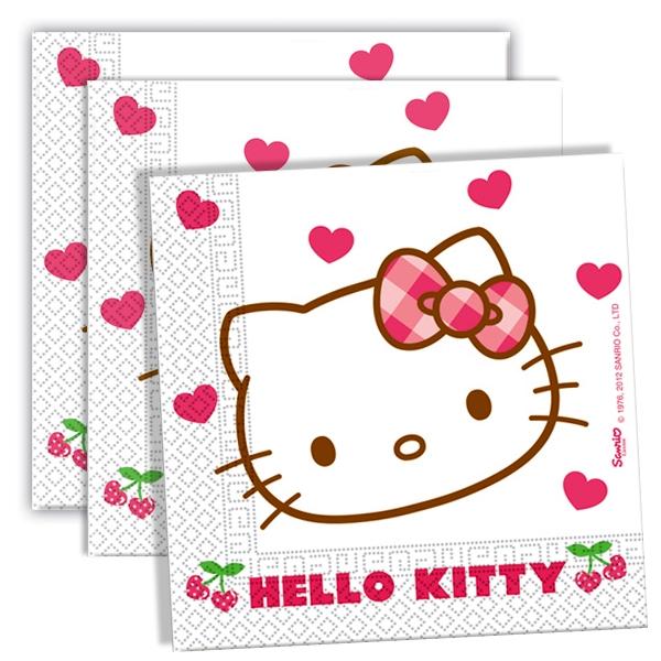 Kinderservietten mit Hello Kitty Hearts, Deko mit Herz, 20 St.,33cm