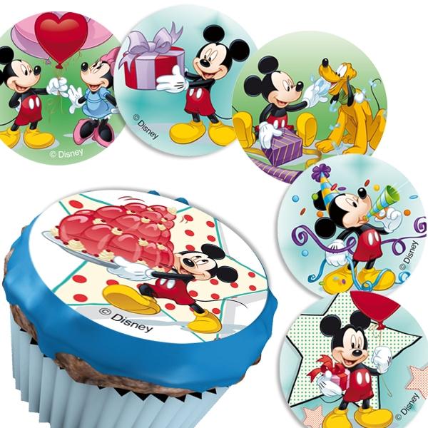 12 Mickymaus Muffinaufleger  4,5cm, für Disneyparty Muffins dekorieren
