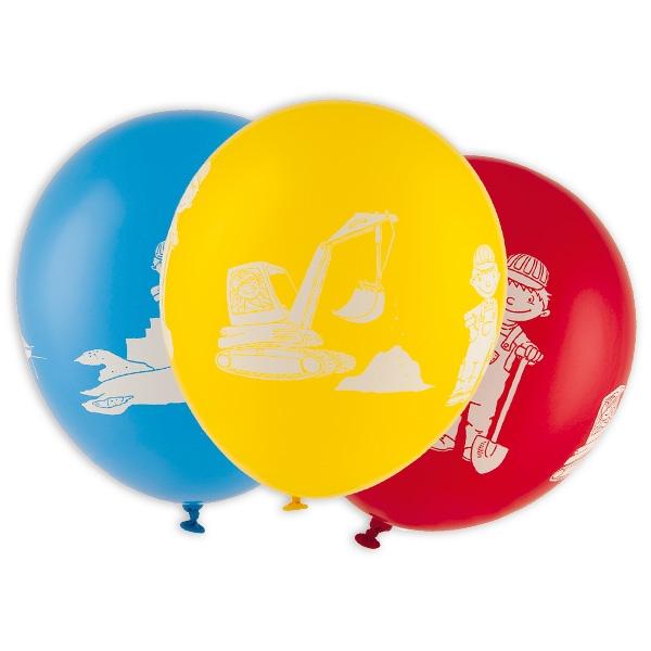 Baustelle Partyballons, Bagger und Bauarbeiter aufgedruckt, 5er Pack