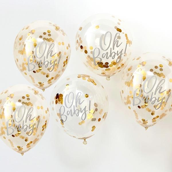 """Oh Baby!"" Konfetti-Ballons, 5 Stück"