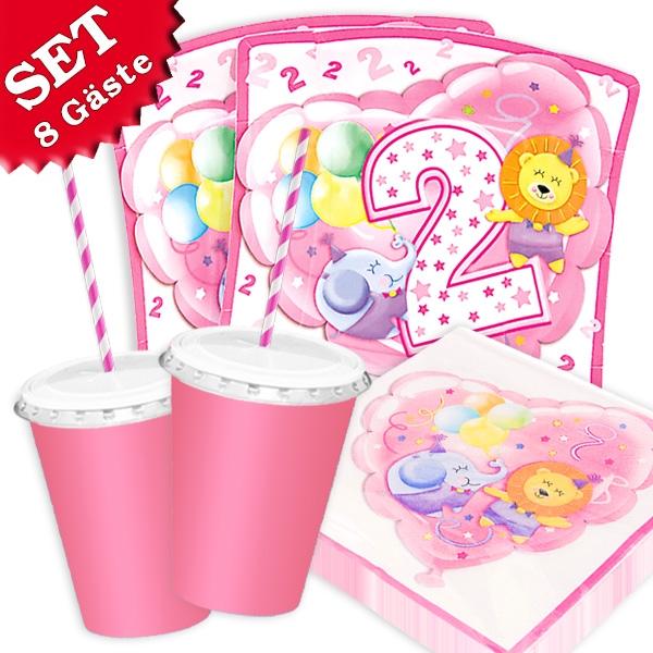 2. Geburtstag Safari - Basic Set, 66-teilig in rosa für bis zu 8 Kids