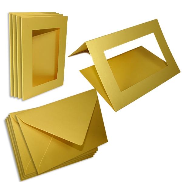 Passepartoutkarten golden, eckig, für eigene Glückwunschkarten, 5er Pack