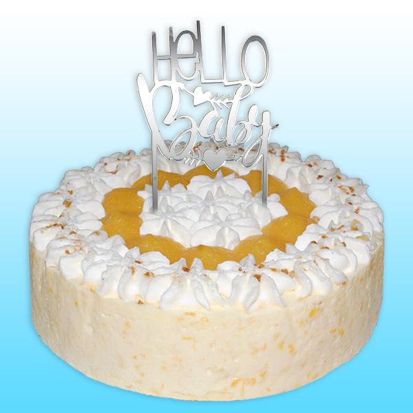 """Spiegelnder Cake Topper """"Hello Baby"""", 8,5cm x 15cm"""