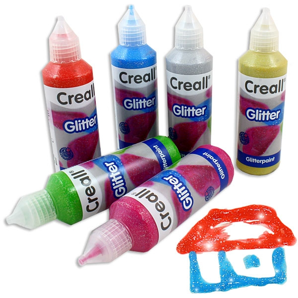 Glitter-Farben Set von Creall, 6er, wasserfest nach d. Trocknen