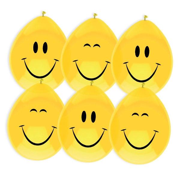 """""""Smiley-Emoji""""-Luftballons in Gelb mit lustigen Gesichtern, 6 Stück"""