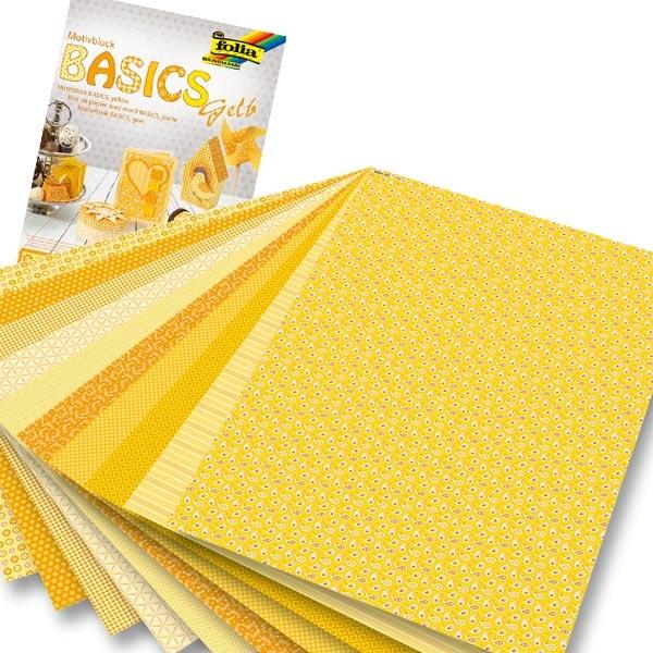 Motivblock Basics in Gelb mit Motivkarton und Tonpapier, 24×34cm