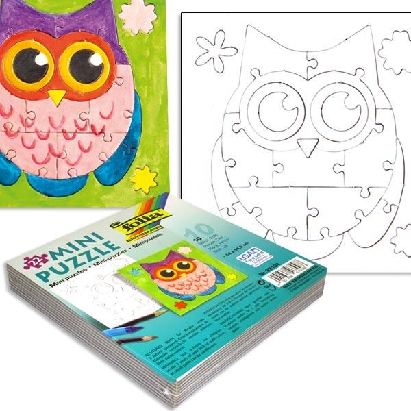 Süße Eulen-Puzzle im 10er Pack, 14x14,5cm, weiss, zum Anmalen, zum Kindergeburtstag