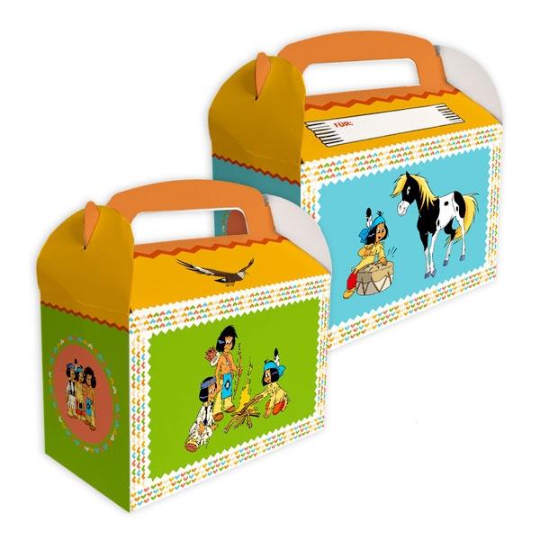 Yakari Mitgebselboxen, Indianer-Geschenkboxen aus Pappe, 6er Pack