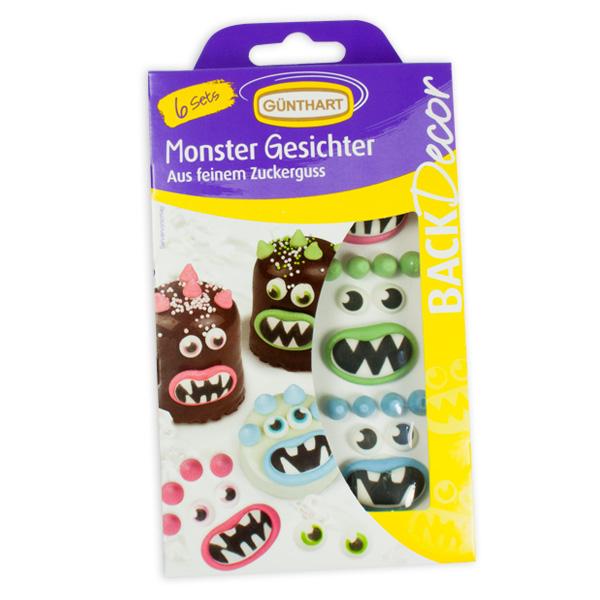 Monster Tortendeko aus Zucker, 6 Sets