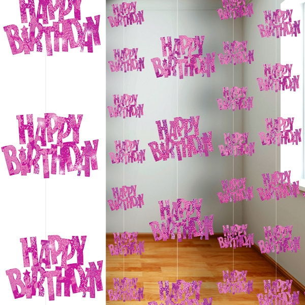 Happy Birthday Glitzer-Deko, in Pink, 6-teilig, je 152,4cm