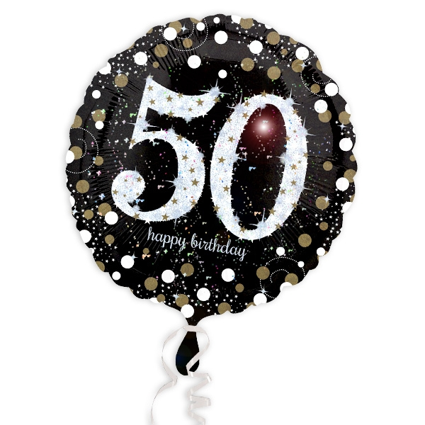 Glitzer-Folieballon, 35cm, für 50. Geburtstag Mann oder Frau