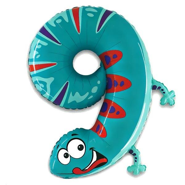 XXL Zahlenballon für 9. Birthday als süßer Gecko