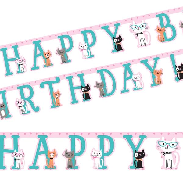 Kätzchen Party Buchstabenkette,2,1m mit Motiven aus Pappe für drinnen