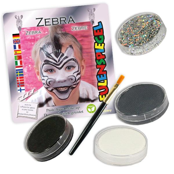 Kinderschminke-Set Zebra, Profi-Aqua, 3 Farben +1x Glitzer +Pinsel