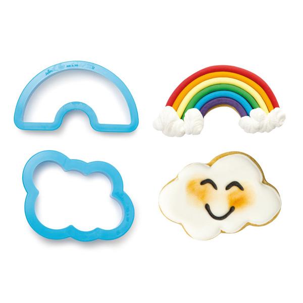 """Ausstechformen """"Wolke und Regenbogen"""" im 2er Set, aus Kunststoff"""