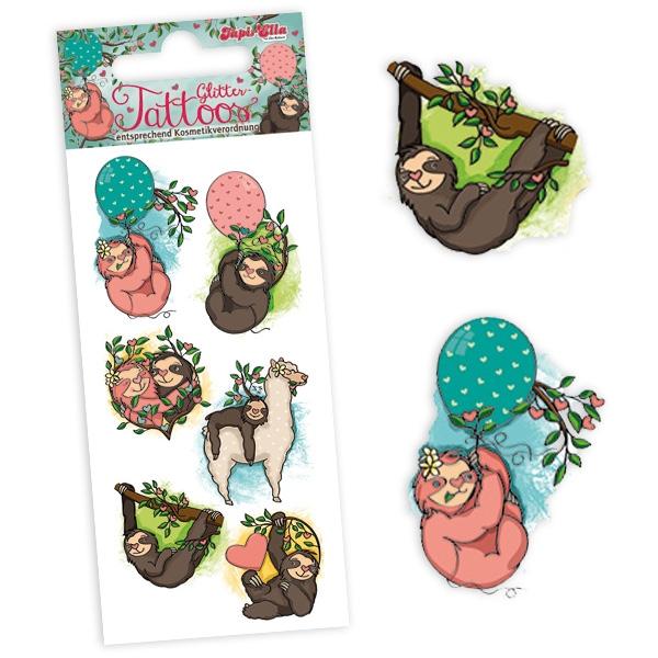 Faultier Glitter-Tattoos, 1 Karte mit 8 Kindertattoos als Einmaltattoos