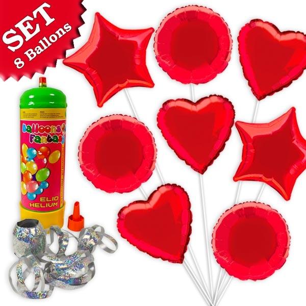 Helium Ballongas Set ROT, 10tlg
