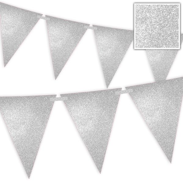 Wimpelkette Silber mit Glitzer - 6 Meter 1 Stk