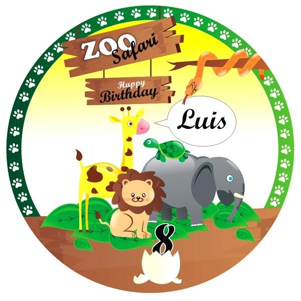 Zoo Safari Tortenaufleger mit Name und Alter