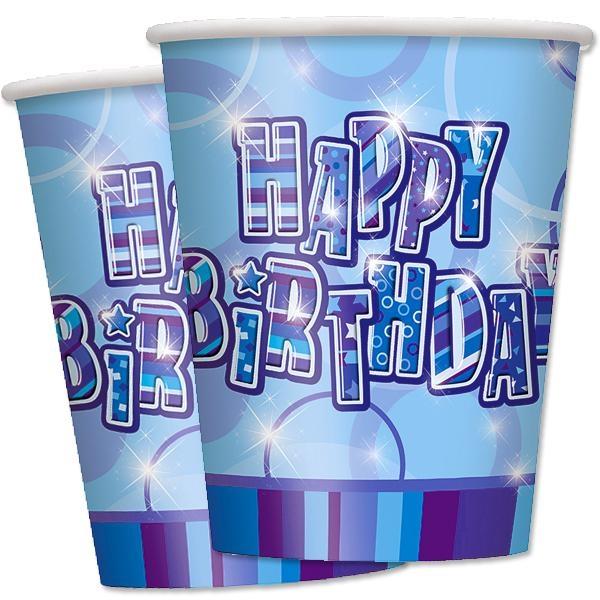 Happy Birthday – Pappbecher in knallig Blau, 8er Pack