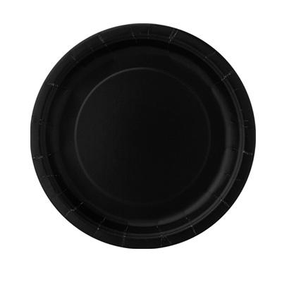 Pappteller einfarbig schwarz, universelle Einwegteller im 8er Pack