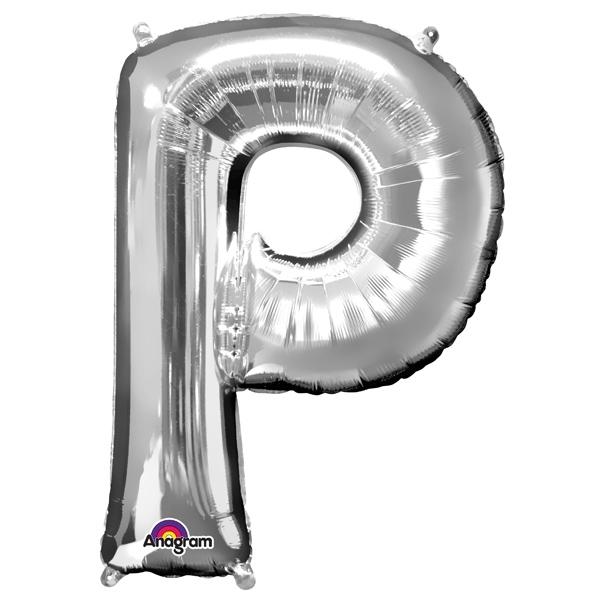 Mini Folienballon Buchstabe P in Silber mit Ösen zum Aufhängen,1 Stk