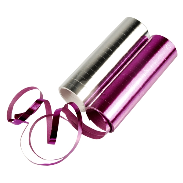 Luftschlangen pink/silbern mit coolem Metallic-Glanz, 2 Rollen