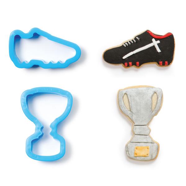 """Ausstechformen """"Fußballschuh und Pokal"""" im 2er Set, aus Kunststoff"""