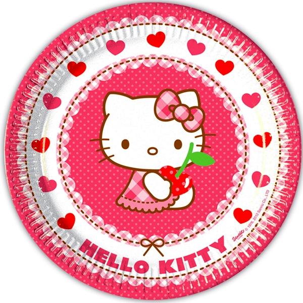 Geburtstagsteller Hello Kitty Hearts, große Pappteller, 8 Stück, 23cm