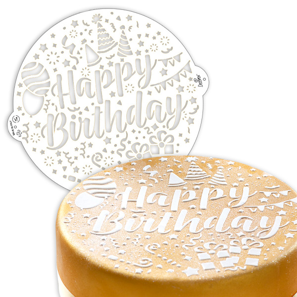Tortenschablone, Happy Birthday, Ø 25cm