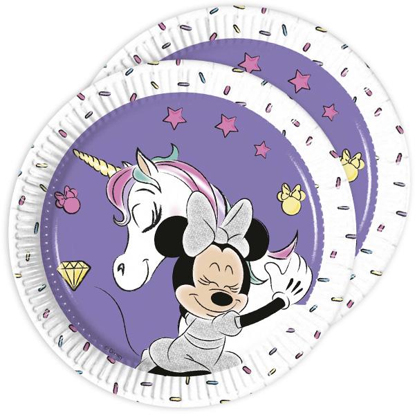 Minnie Maus Einhorn Partyteller, 8 Stück, 19,5 cm