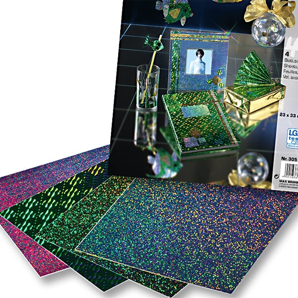 Holographische Folie, 23x33cm 4 Blatt, farbig sortiert, selbstklebend