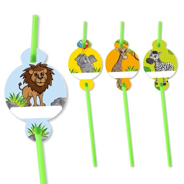 Zoo Trinkhalme: Löwe, Zebra, Elefant & Giraffe, 8er Pack, 20,5cm, Plastik