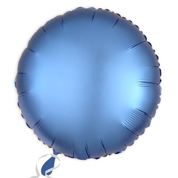 Folieballon rund Satin Luxe Azurblau, 34 cm