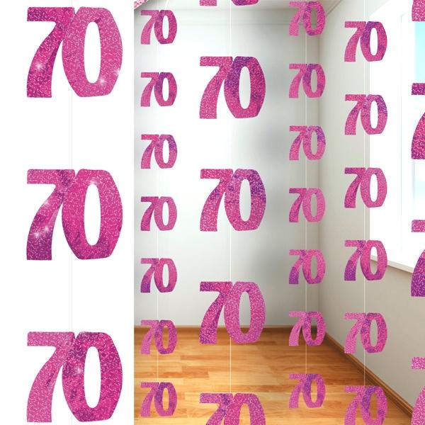 Glitzer-Deko, Zahl 70, in Pink, 6-teilig, je 1,5 m lang