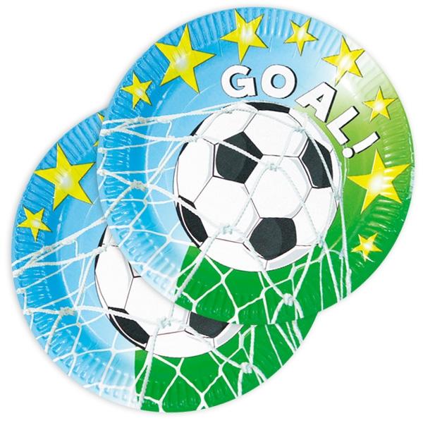 """""""Fußball GOAL"""" Partyteller, 10 Stück, Fußballparty Pappteller, 23 cm"""