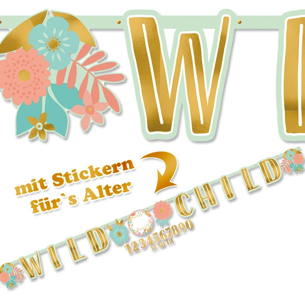 Boho Chic Hippie Party Buchstabenkette + Zahlensticker, 3,2m