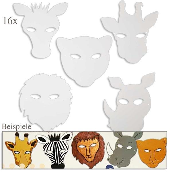 Tier-Masken in weiß, 16er Pack, zum Bemalen, mit Gummibändern, 25cm bis 22,5cm
