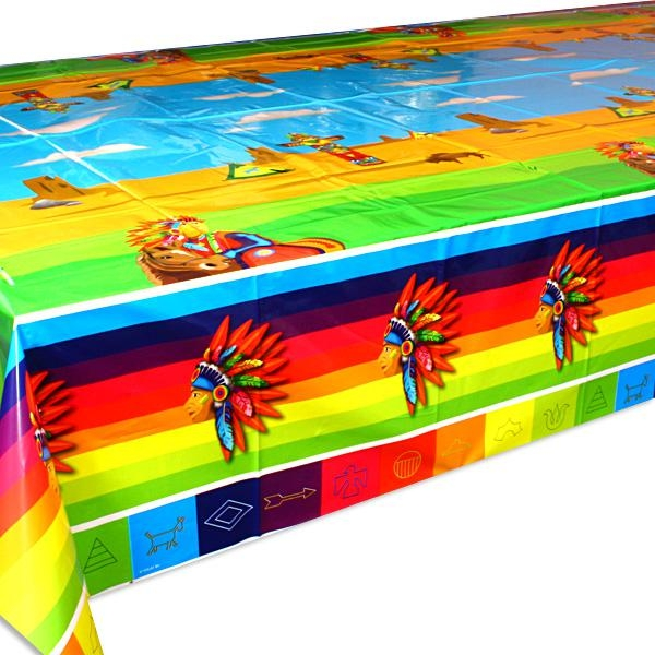 Indianer Tischdecke Folie 1,3×1,8m mit Häuptlingskopf regenbogenfarben