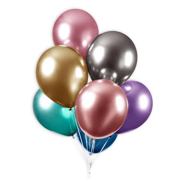 Bunte Luftballons mit Spiegeleffekt, 10 Stk., 30cm