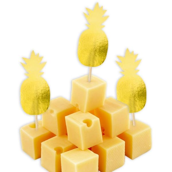 Ananas Sommerparty 20 golden glänzende Ananas Dekopicker, 8cm