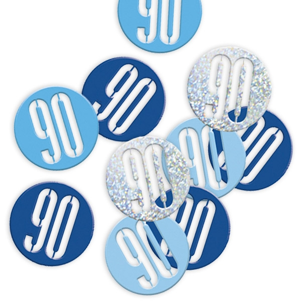 Happy Birthday Konfetti, Zahl 90, 14 g, blaue/silberne Folie